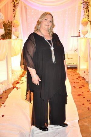חליפות מכנסים לאירוע עליונית א סימטרית משיפון ומכנסי שיפון