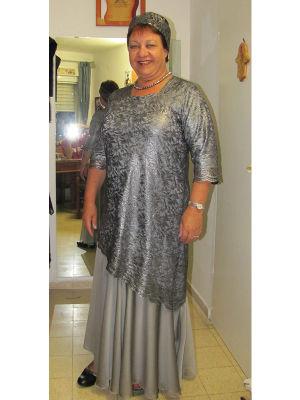 שמלות ערב לדתיות שיפון ותחרה  מוכסף