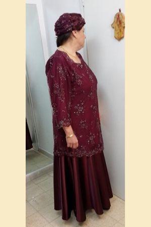 שמלות ערב לדתיות תחרה  רקומה  וטפט
