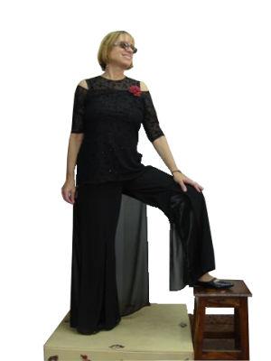 בגדי ערב לנשים מכנס חצאית מעניין וחולצה רשת