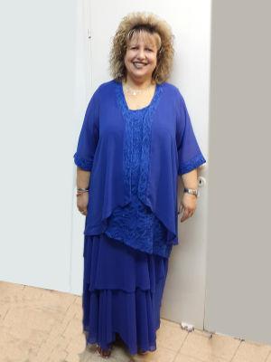 שמלות ערב מידות גדולות שמלה +עליון משיפון ותחרה